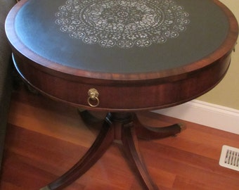 SAMPLE -- Not For Sale -- Vintage Duncan Phyfe Style Drum Table End Round Occasion Entryway Foyer Game Tea Brass Casters Lion's Head