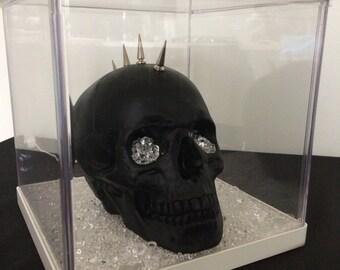 Black Matt punk skull in light up box- crystal filled (not real!)