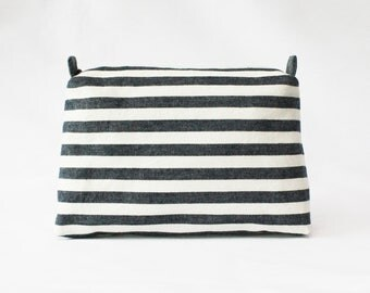 Stripe pouch, cosmetic pouch, makeup bag, travel pouch