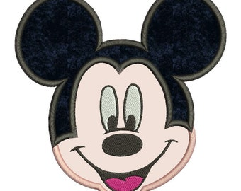 Mickey Mouse Face Applique Design 3 sizes instant download
