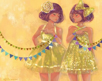 Girls Postcard, Fine Art Print, Discordant Twins, Flags, Metallic, Stationery, Sparkle