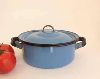 Small Blue Enamelware Pan with Lid Vintage 1970s