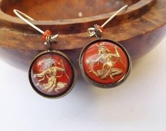 Dancing lady earrings, red earrings, gold dancers, red Siam earrings, sterling silver,Siam dancers, round earrings