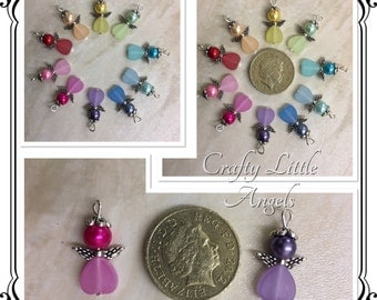 multicoloured angel charms, small angel pendants, small angel charms, frosted angel charms, pack of 10, gift for her, craft supplies