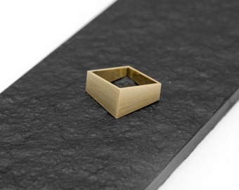 Square Handmade Brass Ring