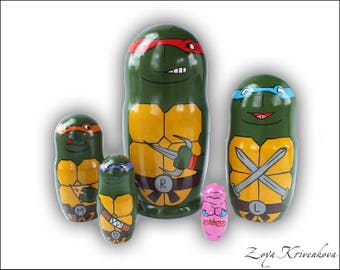SALE! Nesting doll Teenage Mutant Ninja Turtles TMNT Geek Gift Matryoshka 5pcs Leonardo Raphael Krang Michelangelo/Матрешка Черепашки-ниндзя