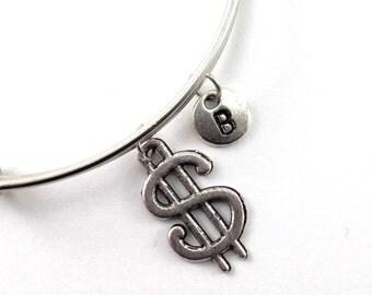DOLLAR charm bangle, personalized charm bangle, initial bangle, Dollar bracelet, personalized bracelet, charm bracelet, initial jewelry