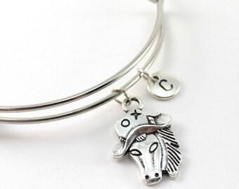 COWBOY HORSE bangle, silver tone horse bracelet, cowboy charm, initial bracelet, adjustable bangle, personalized jewelry, birthstone