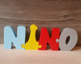 Wooden puzzle, Nino name letters