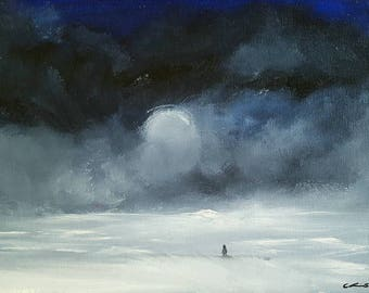 "Winter oil painting landscape print 8.5""x11"" -Meeting a Friend-"