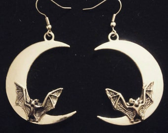 Bat and Moon Earrings