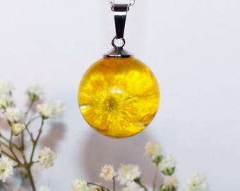 Real flower pendant necklace - Yellow Buttercup - set in resin - with silver chain