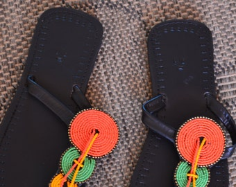 African Maasai Beaded Sandals | Three Rings Beaded Sandals | Yellow Green Orange  Sandals | Elegant | Leather Sandals | Gift For Her