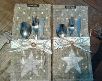 Burlap Silverware Holder - Silverware Holder - Rustic Table Decor - Table Decor - Burlap Decor - Burlap Table Decor - Burlap Wedding Decor -