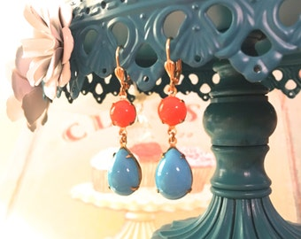 Coral and Turquoise Czech Glass in Gold Shell Leverback