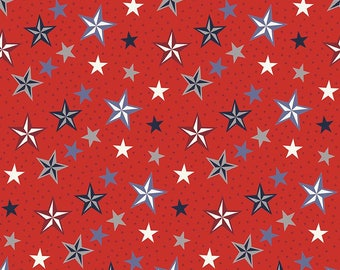 4th of July Fabric - Riley Blake Americana Fabric - Americana Stars Red - Stars and Stripes Fabric - Fabric by the yard