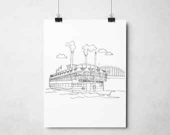 Original Print: Cincinnati Steamboats