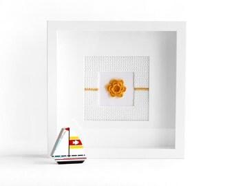 Yellow flower wall hanging, flower wall decor, flower art, nursery wall art, crochet flowers, girl gift idea, flower wall art,
