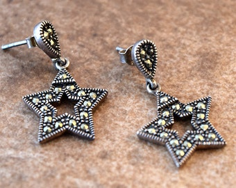 Vintage Jewelry, Marcasite Earrings, Marcasite Jewelry, Gift for Her, Sterling silver,