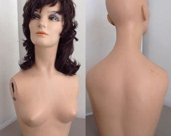 Vintage Mid-Century Mannequin with Wig Head Bust Torso Plywood Bottom and Plaster Metal Arm Fixtures