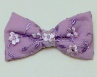 Easter hair bow, girls embroidered hair bow, fancy hairbow, lavender hairbow, fabric hairbow, girls purple bow, church hairbow