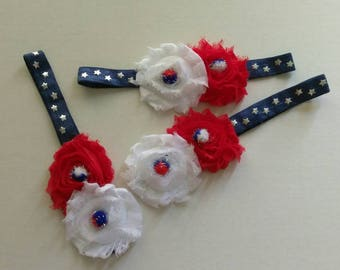 Fourth of July shabby flower headband, infant flower headband, Red white and blue headband, Independence day hair bow, baby headband
