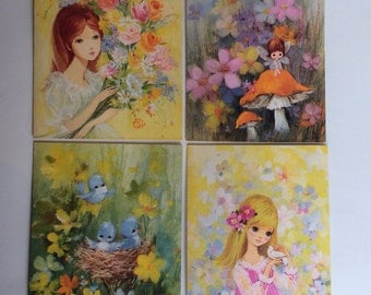 5 Vintage Stationary NoteCards 70s 60s Floral Fairy Bluebird Bird Envelopes Scrapbooking Paper Crafting Solberg
