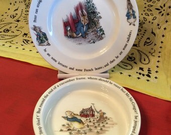 Vintage Beatrix Potter Peter Rabbit Child's Plate and Bowl/ Wedgewood