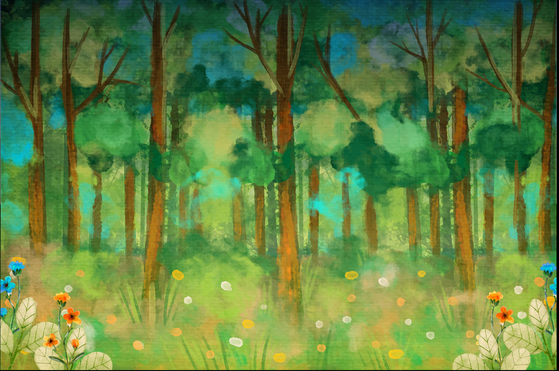 Watercolour Forest Landscape Clip Art PNG High Resolution ...
