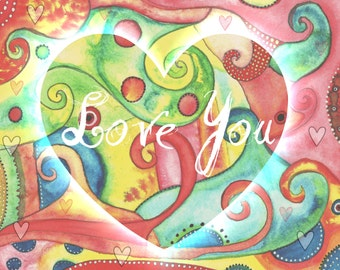 Love You  Art Print On Blank Card