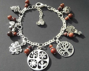 Autumn Season Charm Bracelet with Goldstone and Jasper.  Pagan, Wiccan, Druid, Nature, Natural, Wicca, Witch