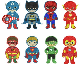 SuperHero EMBROIDERY Design Super Hero Fill Design Machine Embroidery Marvel Comics Batman Ironman Embroidery Instant Download ER1FULLSET