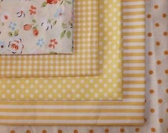 5 coupons cotton patchwork fabric sewing 40 x 50 cm yellow ORANGE 100815