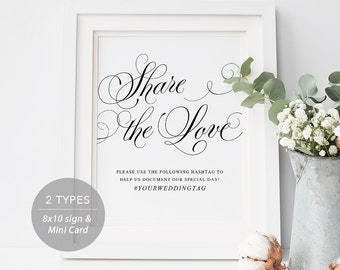 Wedding Hashtag Sign, Share the Love Wedding Sign, Instagram Sign, Share the Love, Wedding Printable, mini card, Instant Download, PDf