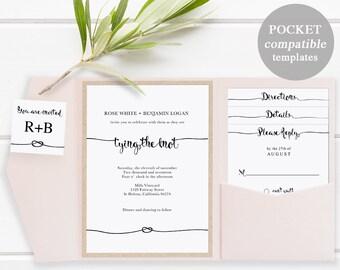 Pocket Wedding Invitation Set, Printable Wedding Invitation Template, DIY Wedding Cards, Instant Download, tie tying the knot, #SPP009wip