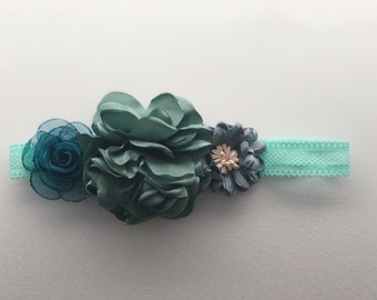 Dusty Blue headband; Blue headband; Dusty blue flower headband; Baby girl headband; Newborn headband; Flower headband