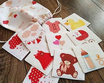 Fabric memory card game with drawstring bag, matching game, baby girl, memory puzzle, travel activity, toy for a girls