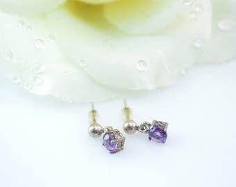 Prong Set Purple Stone Drop Post Earrings Sterling Silver 1.2g