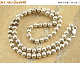On Sale Round Ball Beaded Chain Necklace Sterling Silver 16g