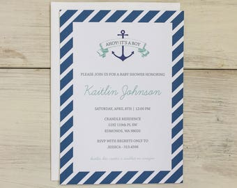 Baby Shower Invitation | Nautical - Printed