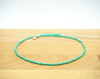 Teal choker necklace -Dainty choker -Turquoise choker -Beaded choker -Delicate choker -Seed bead choker -Gift under 15 - FREE SHIP
