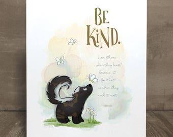 Children's skunk art print, nursery art, kid character trait, compassion