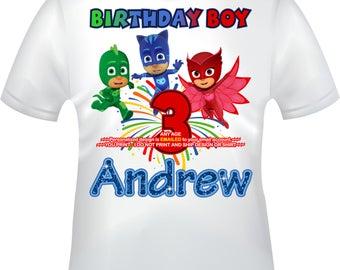 You Print - PJ Masks Birthday Boy iron on, PJ Masks Mommy of iron on, PJ Masks Daddy of iron on, pj masks B-day shirt decal- pjmasksbb