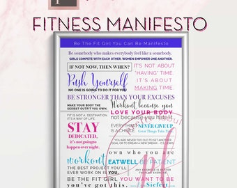 Fitness Manifesto Poster | Inspirational quotes | word art | typography manifesto | printable wall art | instant digital download