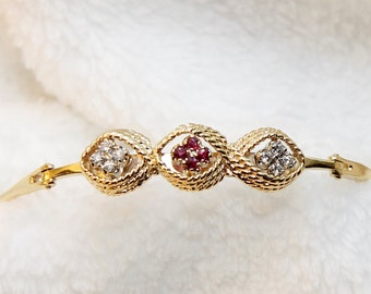 Reduced: Rare Antique Estate, Certified Appraisal 2k, 14K Yellow Gold, Ruby and Diamond Bracelet