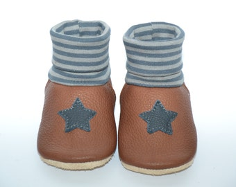 Organic leather baby shoes slippers