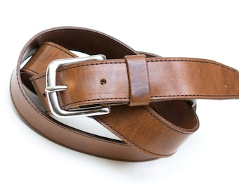 Leather belt - stainless steel buckle - Brown - 3 cm - length 104