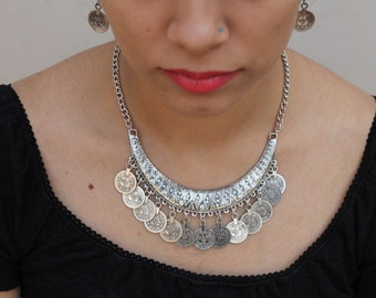Silver Coin Indian Necklace, Bib Statement Necklace, Choker Necklace, Goth Necklace, Collar Necklace, Boho Tribal, Bridesmaid Necklace
