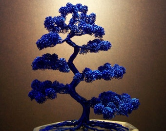 Moyogi Style Wire Tree Sculpture (blue)