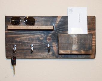 Rustic Entryway Floating Shelf - Mail Organizer - Wall Key Holder - Key Rack - Wood